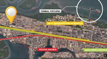 Mapa da área onde fica o terreno da Prefeitura na Alemoa, com a sinalização da Rodovia Anchieta e linha férrea. #pracegover
