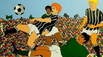 Pintura em tela com jogo de futebol. Dois jogadores disputam a bola enquanto outros dois aparecem ao redor. Ao fundo, a arquibancada está cheia. #Pracegover