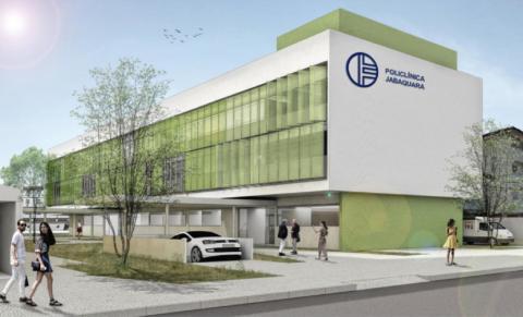Arte com fachada da nova Policlínica do Jabaquara. #Pracegover