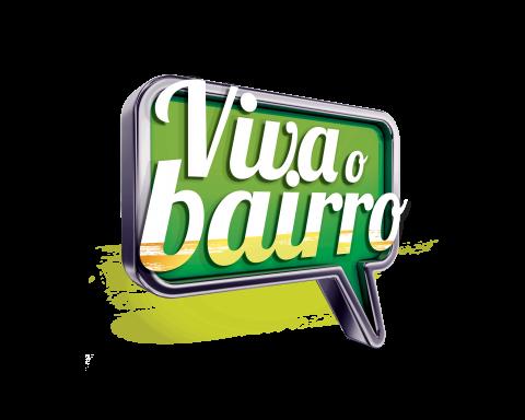 Logo com os dizeres Viva o Bairro em branco sobre um balão de fala verde estilizado.