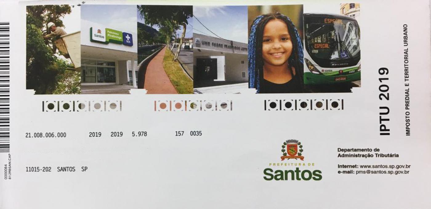 Capa do boleto de IPTU 2019, com sequência de quatro imagens: uma policlínica, obras na entrada da Cidade, uma menina e um ônibus. #Pracegover