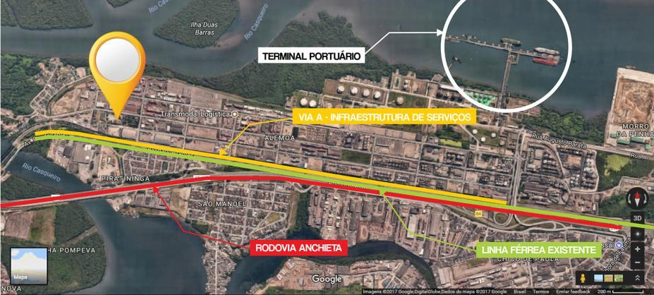 Imagem aérea do terreno próximo ao porto. #Pracegover