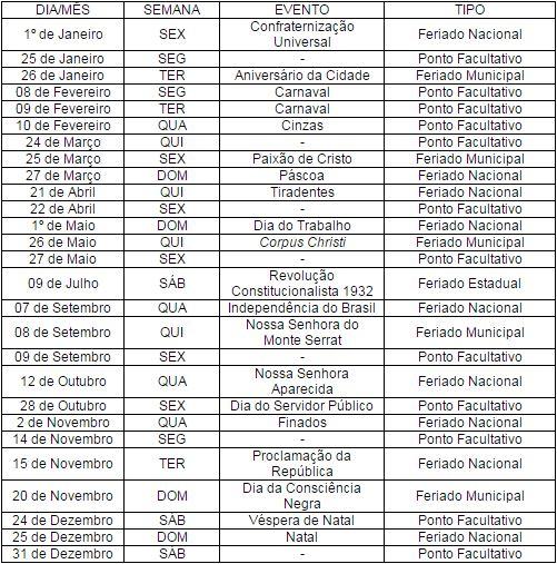 Os meses de junho e agosto serão os únicos sem nenhuma folga. Estão fora  desse calendário os setores da Prefeitura que possuem atividades  consideradas ... c49be8faff2e3