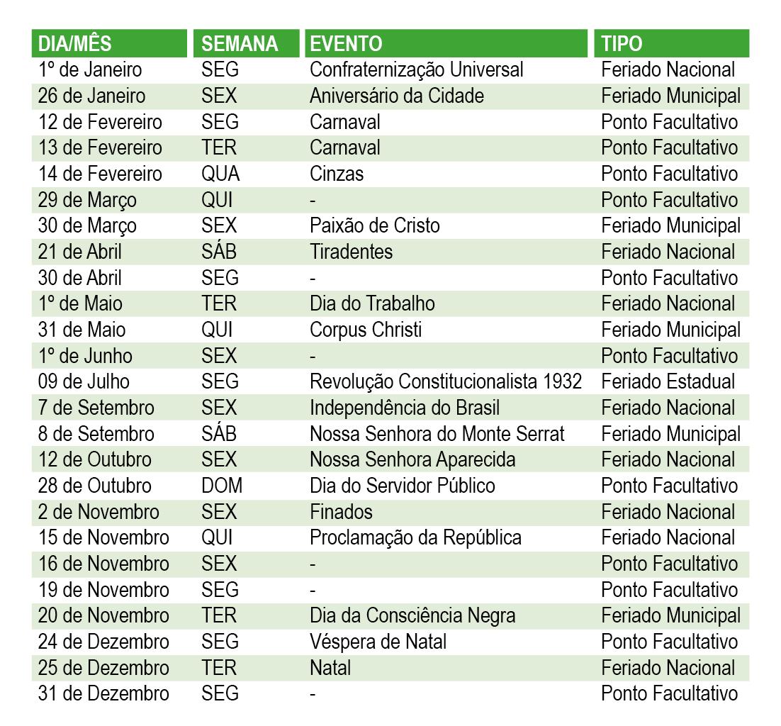 Calendario Santos.Prefeitura Define Calendario De Feriados E Pontos Facultativos Do
