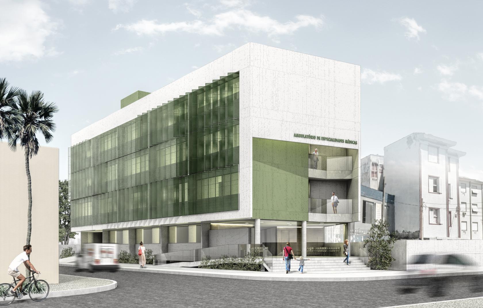 Perspectiva de novo equipamento de saúde com visão de fachada fronta e uma  das laterais. A nova unidade do Ambulatório de Especialidades do Centro ... 348c40dd954