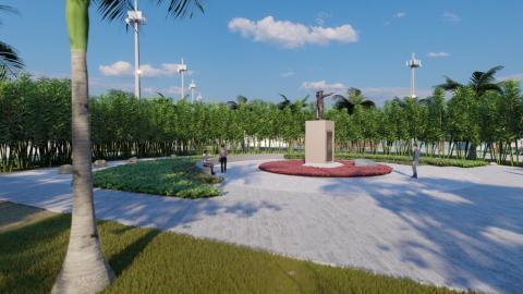 vista geral da praça, em perspectiva, com monumento ao centro. #paratodosverem